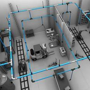 Modular Aluminum Compressed Air Piping Installation